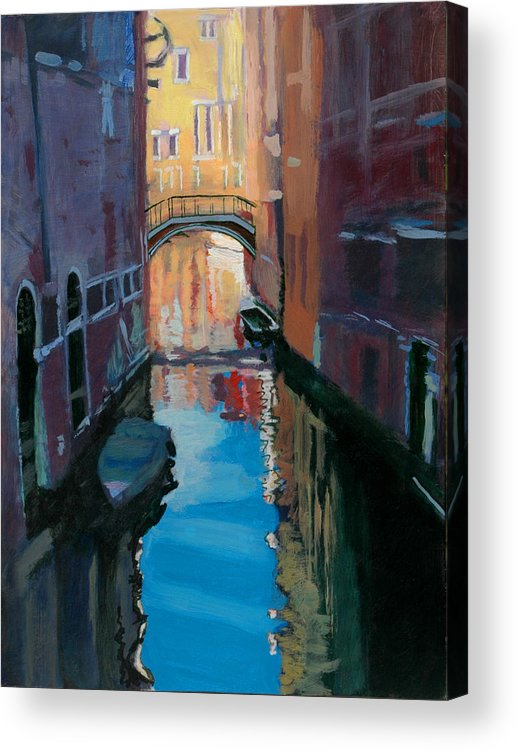 Venice Acrylic Print featuring the painting Venice Canal by Robert Bissett
