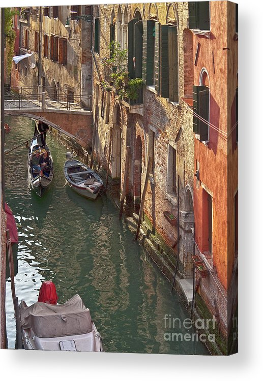 Venice Acrylic Print featuring the photograph Venice Ride With Gondola by Heiko Koehrer-Wagner