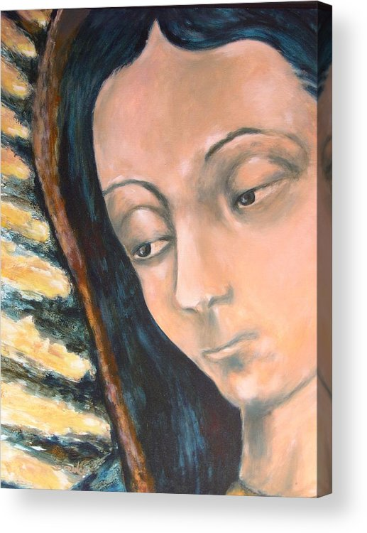 Religious Acrylic Print featuring the painting Virgen De Guadalupe by DEVARAJ DanielFranco