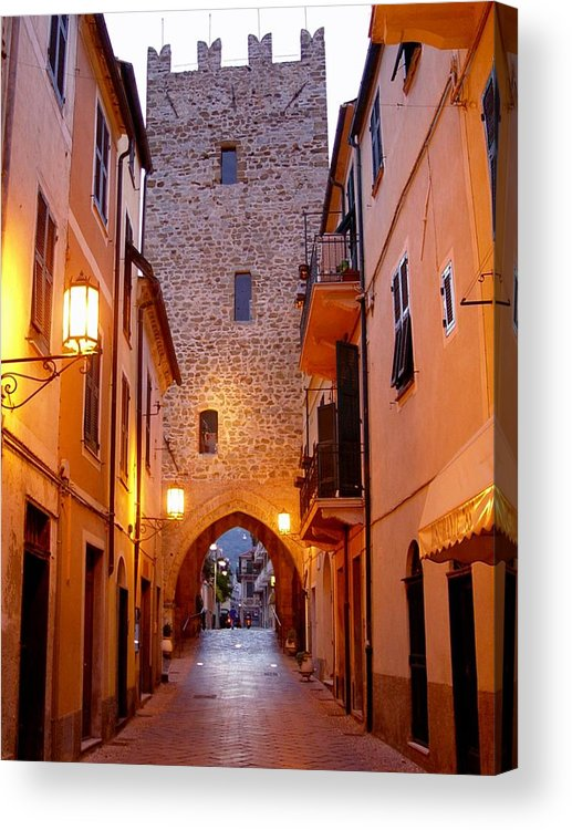 Cobblestone Walk Acrylic Print featuring the photograph Visions Of Italy Archway by Nancy Bradley