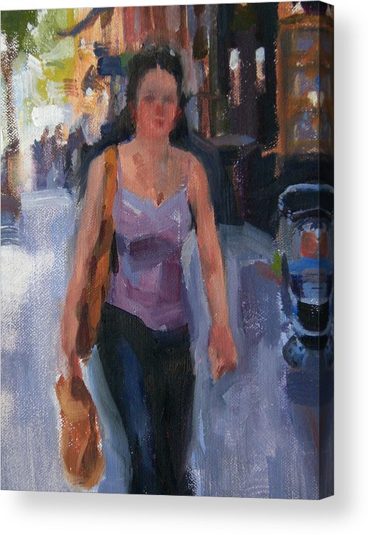New York Acrylic Print featuring the painting Walking Down Bleeker Street by Merle Keller