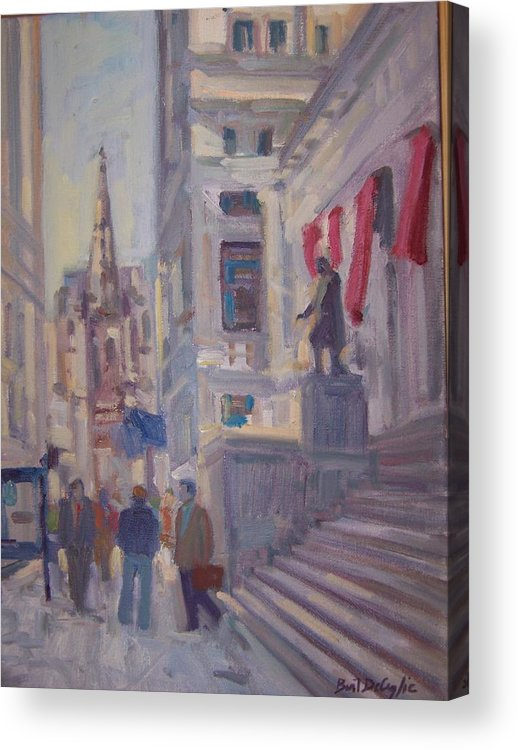 Street Scene Of Wall St.trinity Church Acrylic Print featuring the painting Wall St. by Bart DeCeglie