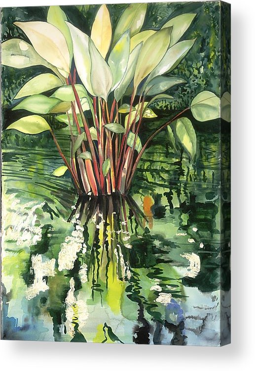 Foliage In A Pond Acrylic Print featuring the painting Water Plant by Ileana Carreno
