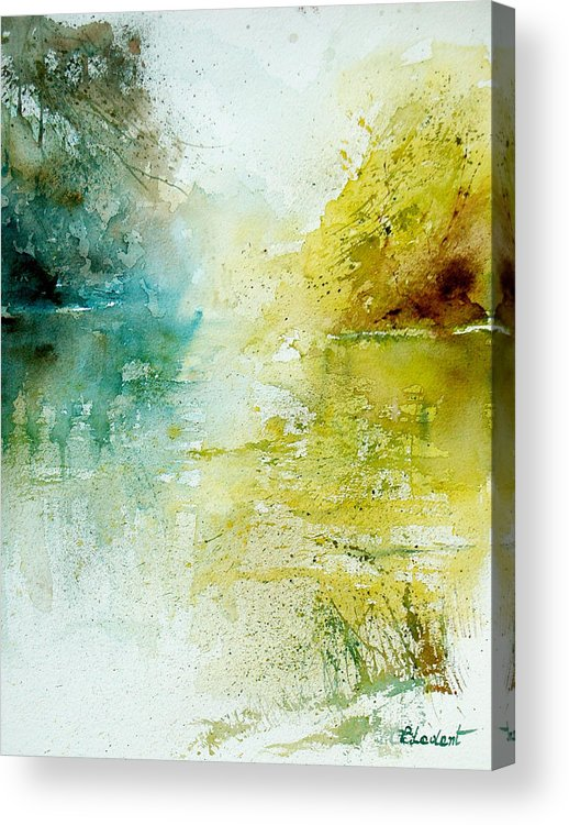 Pond Nature Landscape Acrylic Print featuring the painting Watercolor 24465 by Pol Ledent