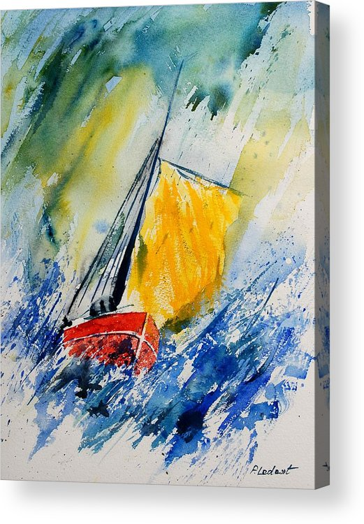 Sea Waves Ocean Boat Sailing Acrylic Print featuring the painting Watercolor 280308 by Pol Ledent
