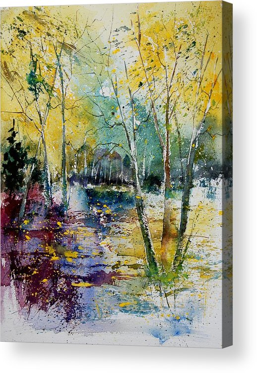 Pond Acrylic Print featuring the painting Watercolor 280809 by Pol Ledent
