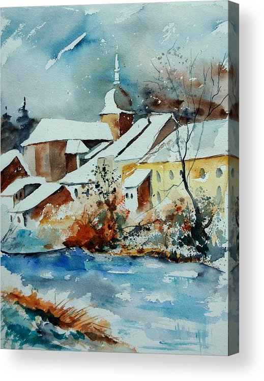 Landscape Acrylic Print featuring the painting Watercolor Chassepierre by Pol Ledent