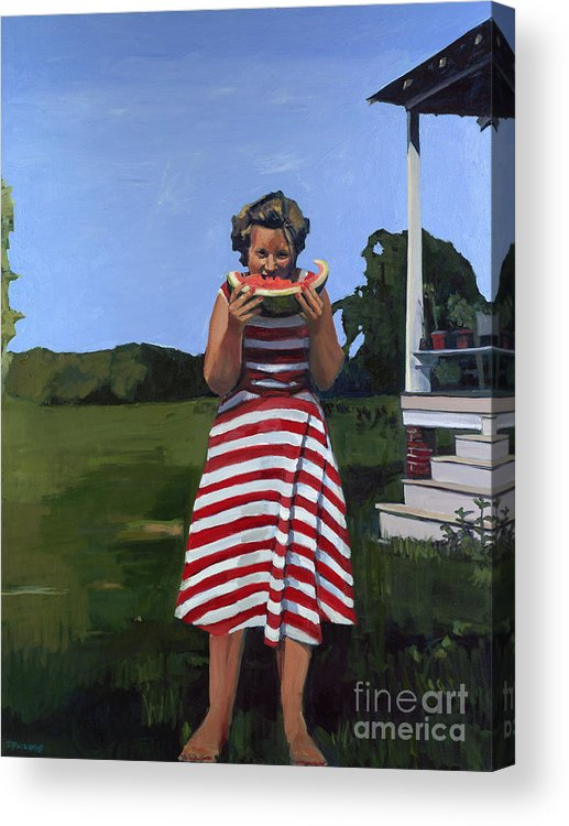 Figurative Acrylic Print featuring the painting Watermelon Eater by Deb Putnam