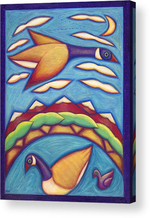 Whimsical Acrylic Print featuring the painting We Are Family by Mary Anne Nagy