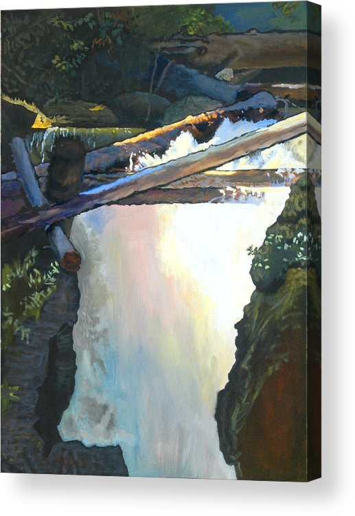 Fall Acrylic Print featuring the painting West Yaak Falls by Robert Bissett