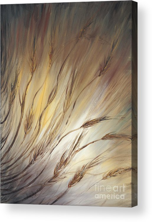 Wheat Acrylic Print featuring the painting Wheat In The Wind by Nadine Rippelmeyer