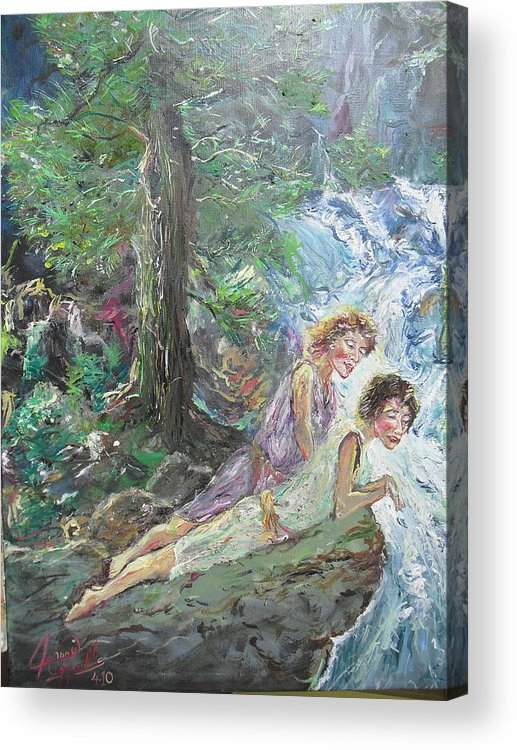 Young Acrylic Print featuring the painting Whispering Pines by John Cappello
