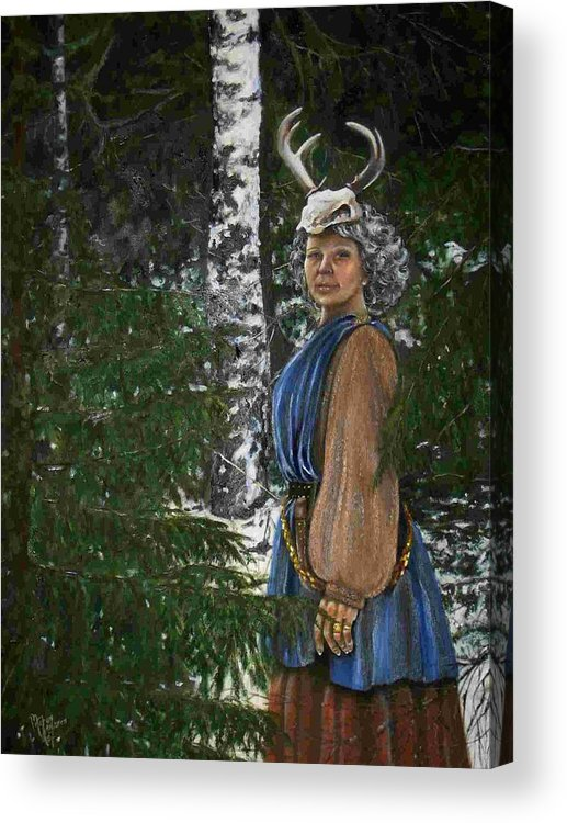 Mythology Acrylic Print featuring the painting Who Is There In My Forrest by Maren Jeskanen