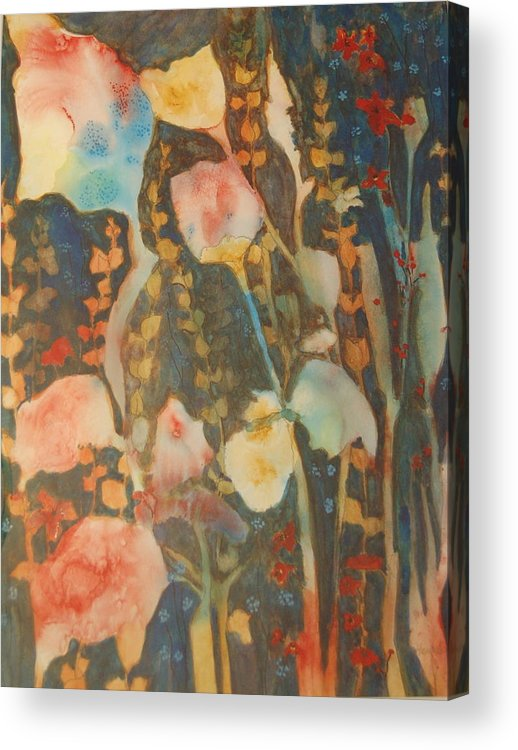 Flower Abstract Acrylic Print featuring the painting wild flowers in the wind I by Henny Dagenais