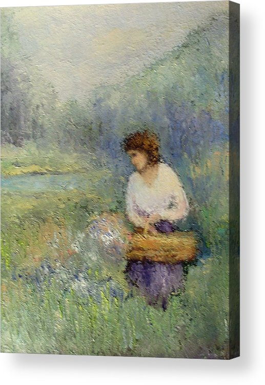 Woman Acrylic Print featuring the painting Wildflowers by Gail Kirtz