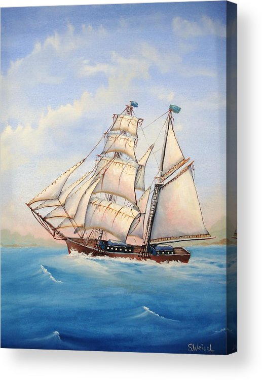 Schooner Boat Sea Ocean Landscape Wave Sail Blue Cream Brown Wave Acrylic Print featuring the painting Wind Surfer by Sherry Winkler