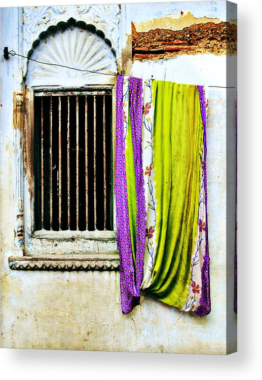 Window Acrylic Print featuring the photograph Window And Sari by Derek Selander