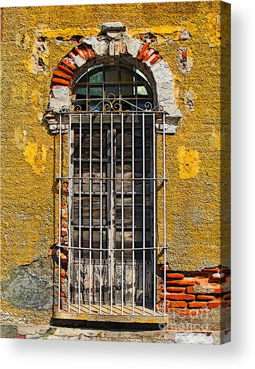 Darian Day Acrylic Print featuring the photograph Window In The Yellow Wall By Darian Day by Mexicolors Art Photography