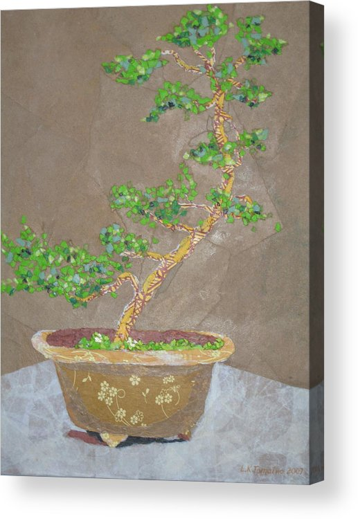 Banzai Tree Acrylic Print featuring the painting Windswept Juniper by Leah Tomaino