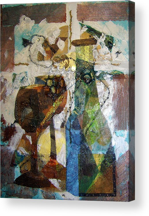 Mixed Media Collage Acrylic Abstract Wine Bottle Glasses Goblets Collage Texture Metalics Acrylic Print featuring the painting Wine Bottle With Two Glasses by Terry Honstead