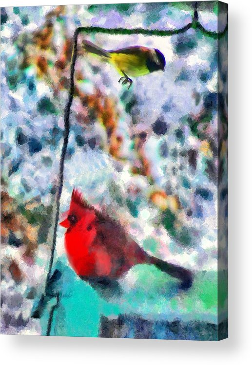 Birds Acrylic Print featuring the mixed media Winter Meals by Marilyn Sholin