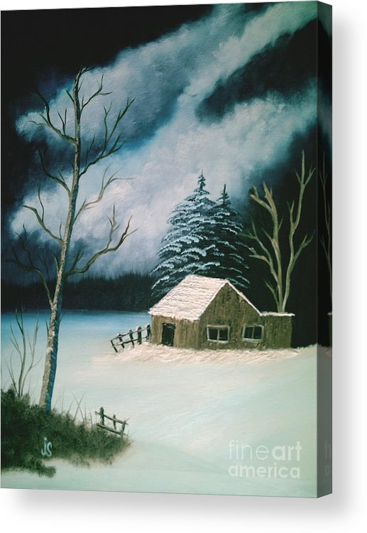 Winter Landscape Acrylic Print featuring the painting Winter Solitude by Jim Saltis