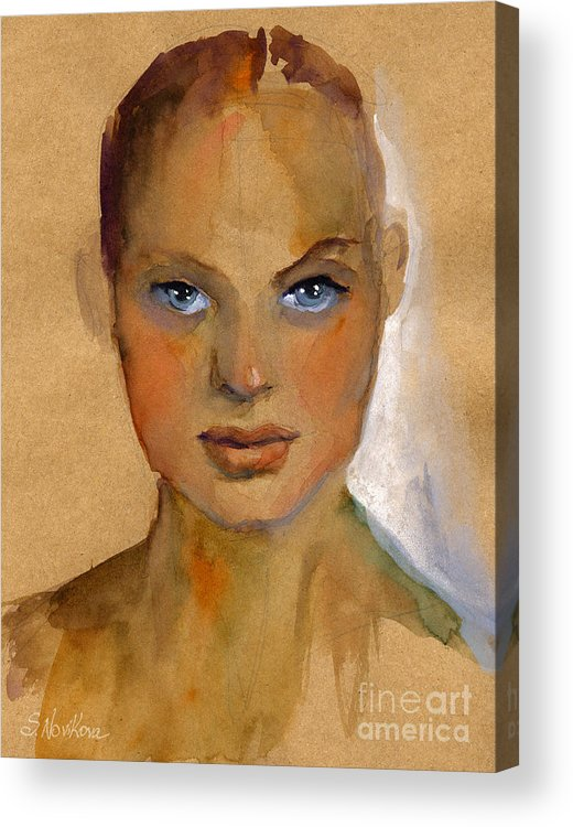 Portrait Acrylic Print featuring the painting Woman Portrait Sketch by Svetlana Novikova