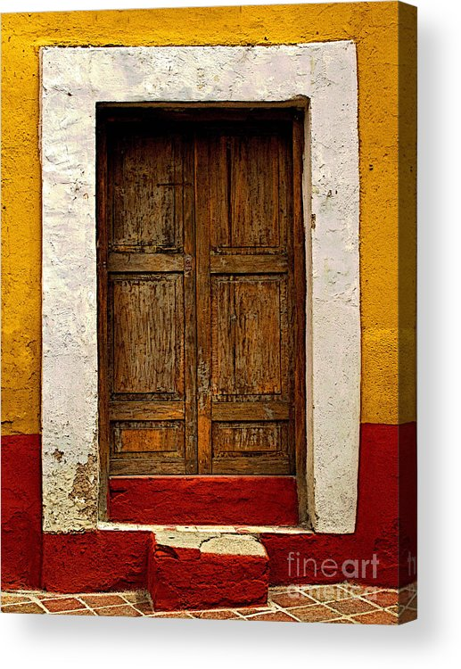 Darian Day Acrylic Print featuring the photograph Wooden Door With White Trim by Mexicolors Art Photography