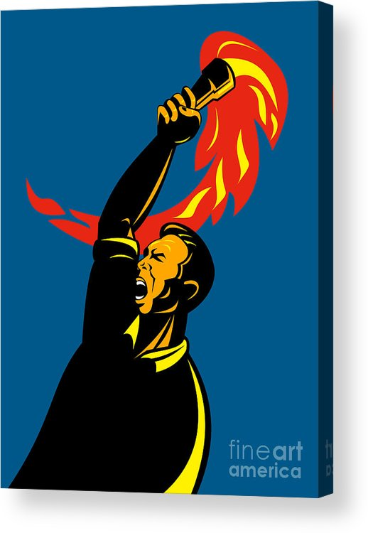 Illustration Acrylic Print featuring the digital art Worker With Torch by Aloysius Patrimonio