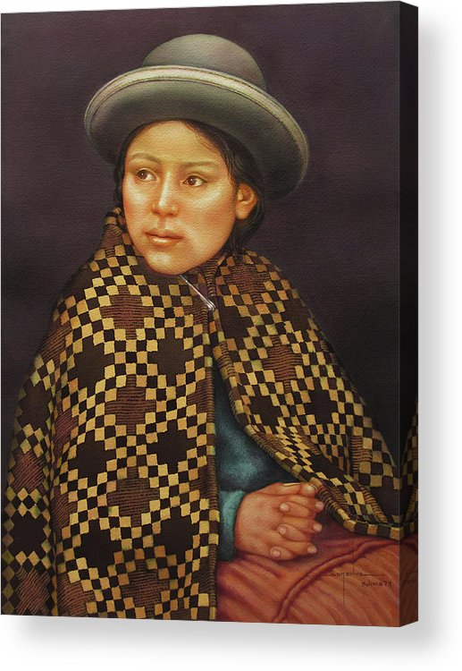 Alfredo Da Silva Acrylic Print featuring the painting Ws1979bo013 Eloisa La Paz 14x20 by Alfredo Da Silva