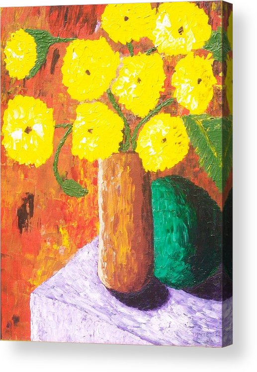 Acrylic Print featuring the painting Yellow Mums by Dixie Lee Hedrington