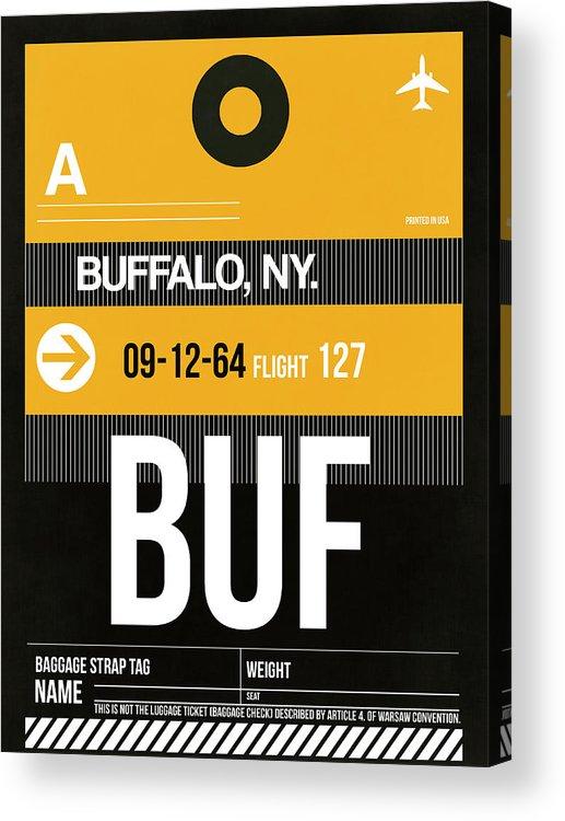 Vacation Acrylic Print featuring the digital art Buf Buffalo Luggage Tag II by Naxart Studio