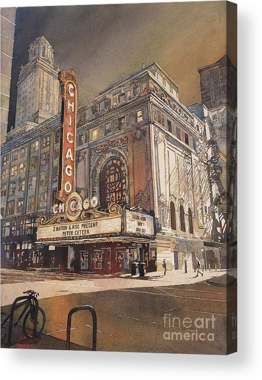 Street Scene Acrylic Print featuring the painting Chicago Theatre- Illinois by Ryan Fox