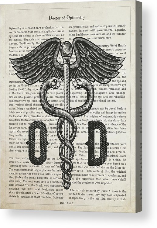 Doctor Of Optometry Acrylic Print featuring the digital art Doctor Of Optometry Gift Idea With Caduceus Illustration 01 by Aged Pixel