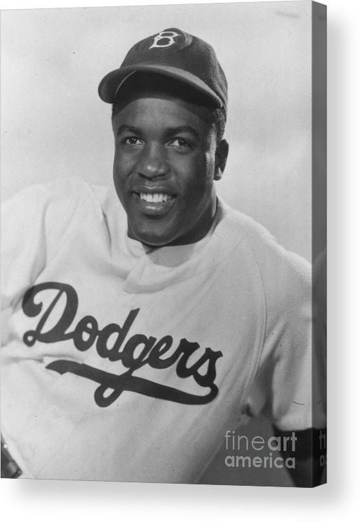 People Acrylic Print featuring the photograph Jackie Robinson Happy Portrait 1949 by Transcendental Graphics