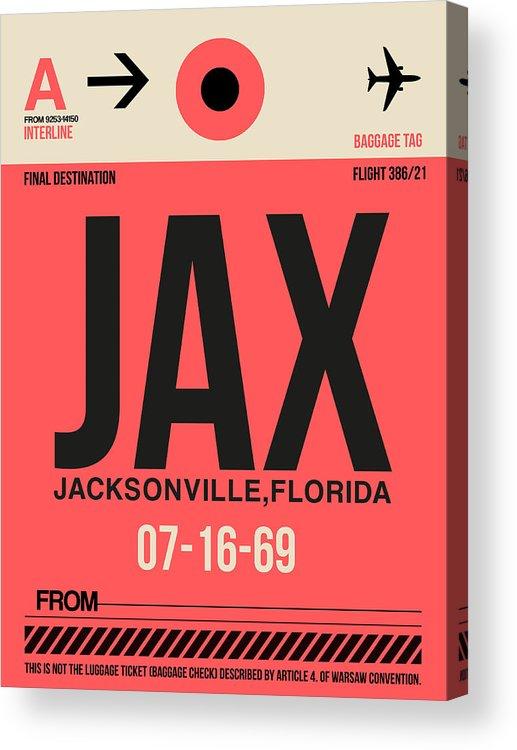 Jacksonville Acrylic Print featuring the digital art Jax Jacksonville Luggage Tag I by Naxart Studio