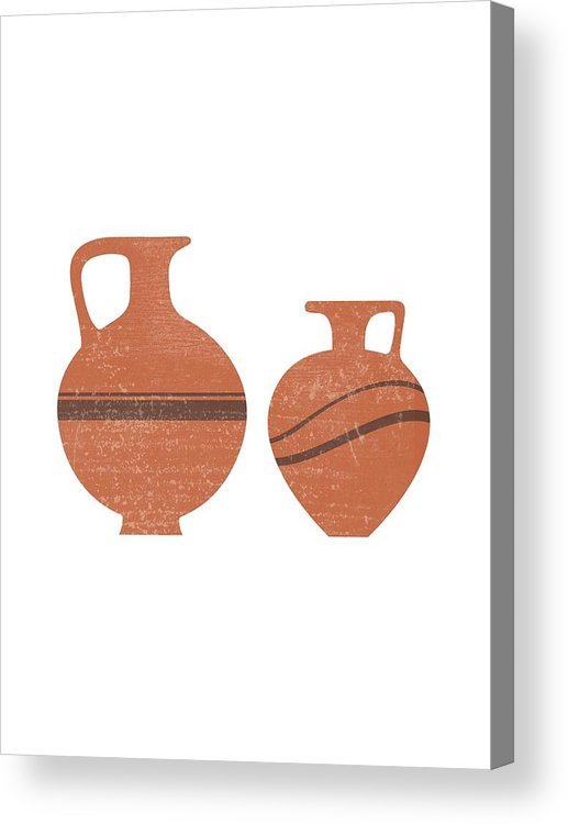 Abstract Acrylic Print featuring the mixed media Minimal Abstract Greek Vase 20 - Oinochoe - Terracotta Series - Modern, Contemporary Print - Sienna by Studio Grafiikka