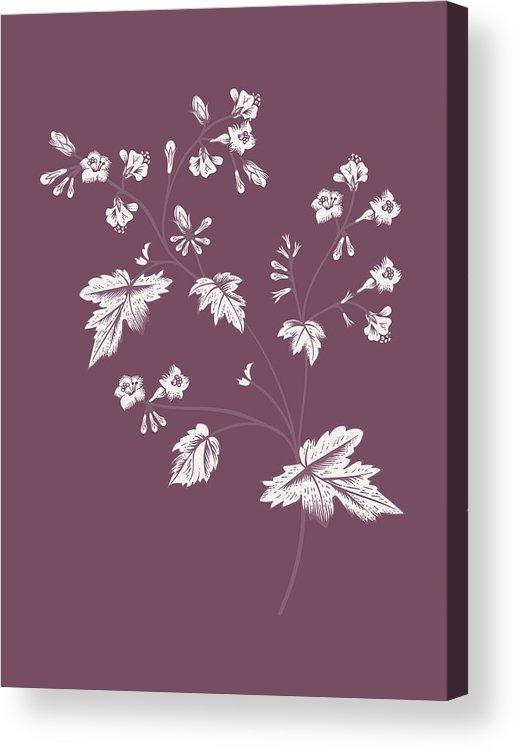 Phacelia Acrylic Print featuring the mixed media Phacelia Purple Flower by Naxart Studio