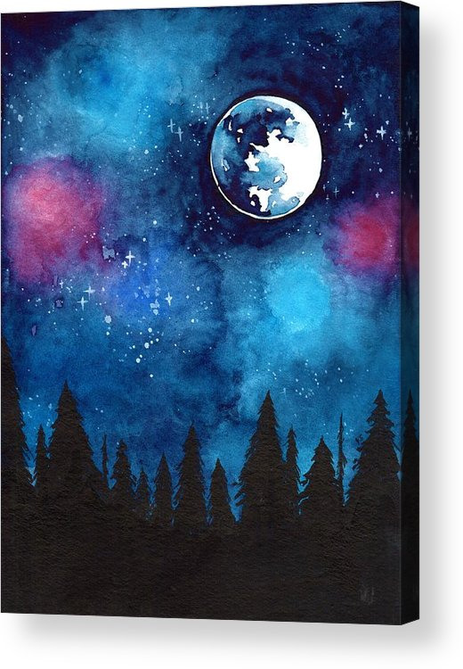 Moon Acrylic Print featuring the painting The Moon by ArtMarketJapan