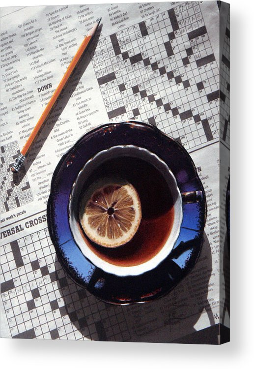 Still Life Acrylic Print featuring the painting Crossword by Dianna Ponting