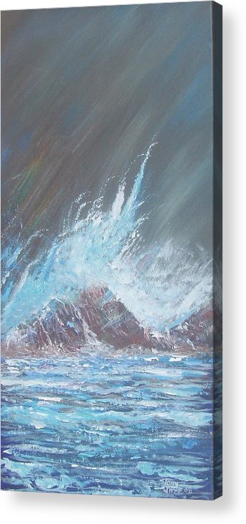 Seascape Acrylic Print featuring the painting Portrait Of A Wave by Tony Rodriguez
