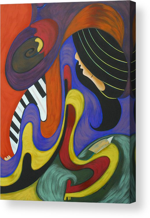 Abstract Expressionism Acrylic Print featuring the painting Reading With Music by Marta Giraldo