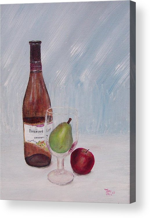 Still Life Acrylic Print featuring the painting Pear In Glass by Tony Rodriguez