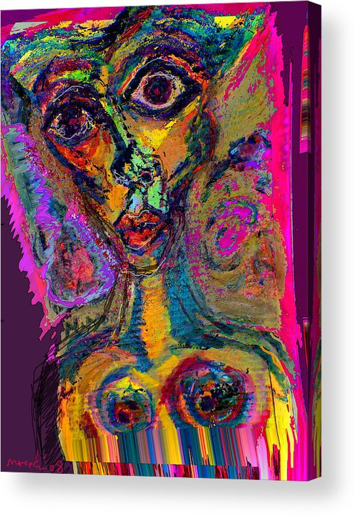 Mask Acrylic Print featuring the painting Vodoo by Noredin Morgan