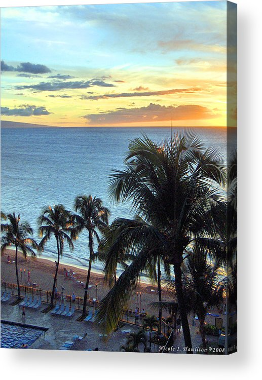 Palm Tree Acrylic Print featuring the photograph Resort Sunset by Nicole I Hamilton