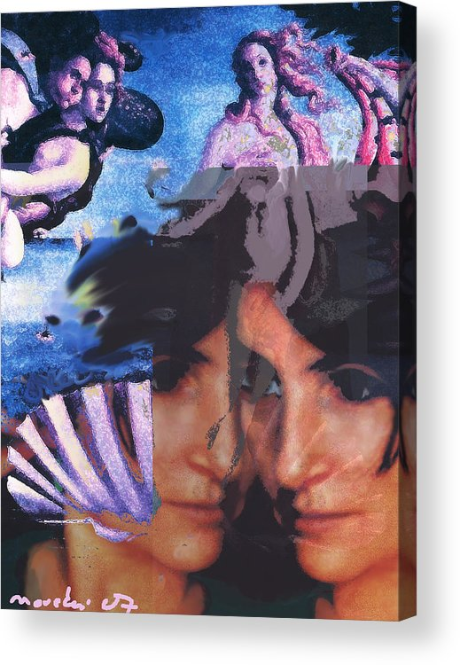 Human Composition Acrylic Print featuring the digital art Renissane Women by Noredin morgan