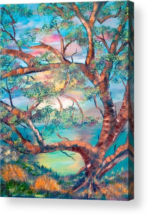 Original Acrylic Print featuring the painting Misty Oak by Mikki Alhart
