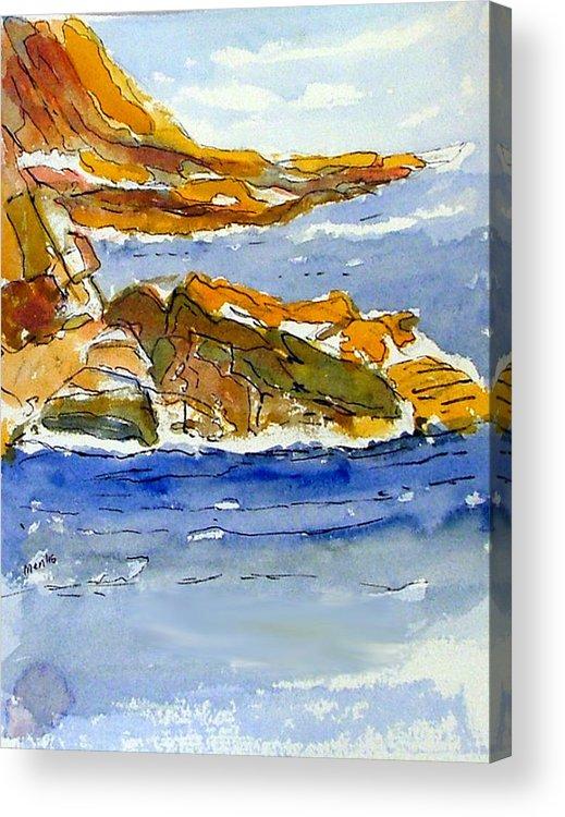 Watercolor Acrylic Print featuring the painting Ocean Scene by Jivantoro Mentis