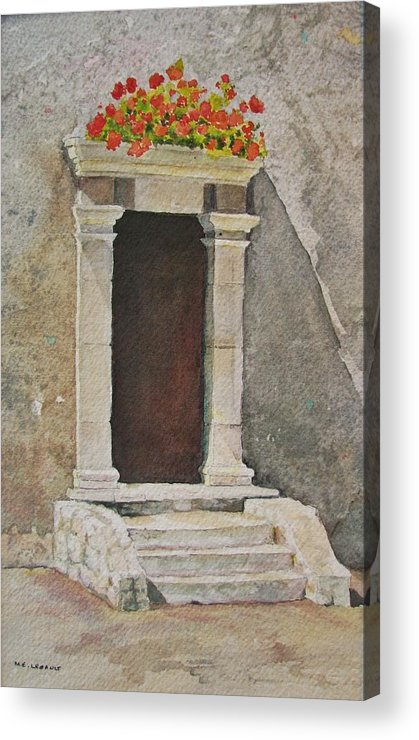 Antique Doorway Acrylic Print featuring the painting Ancient Doorway by Mary Ellen Mueller Legault
