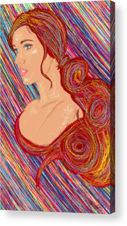 Hair Abstract Art Acrylic Print featuring the painting Beauty Of Hair Abstract by Kenal Louis